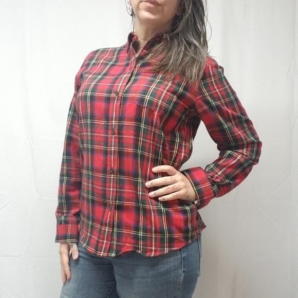 9c056297015ea L.L. Bean Tops - LL BEAN Relaxed Fit Cotton Plaid Flannel Shirt